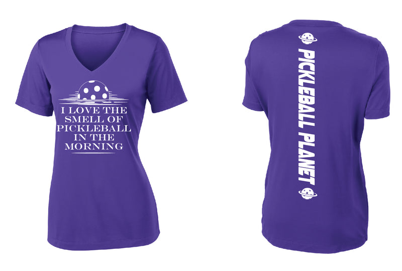 Ladies Short Sleeve Purple V Neck I Love the Smell