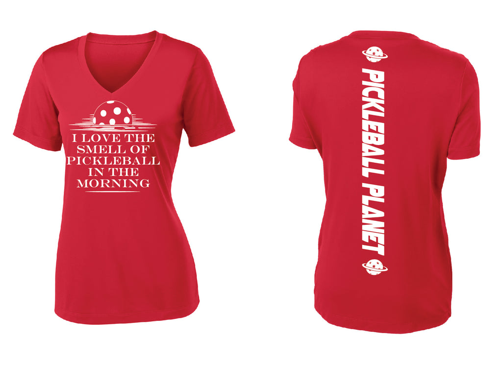 Ladies Short Sleeve Red V Neck I Love the Smell