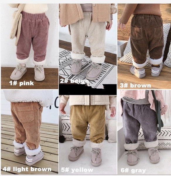 Kids Corduroy Trousers (w/ thick fleece lining)