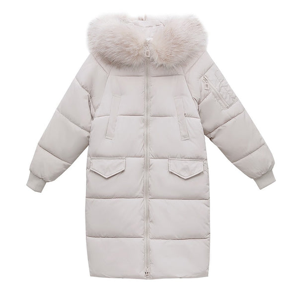 Long Puffer Coat Women (w/ detachable fur collar)