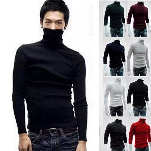 Men Cotton Turtleneck Longsleeves Black Small Only