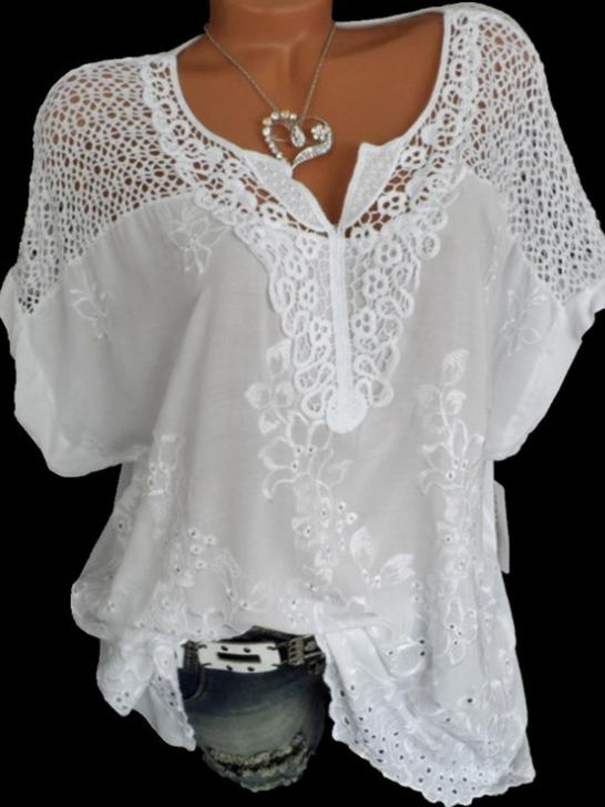 Plus Size Lace V-Neck Embroidered Batwing Coat with Short Sleeves
