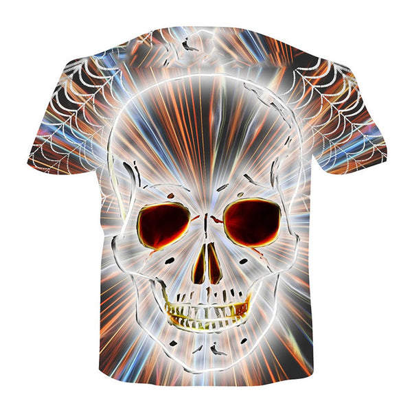 Men's Basic Plus Size Cool Funny Polyester T-shirt - 3D Skull Print Round Neck 01