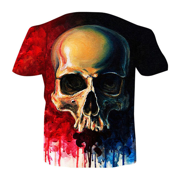 Men's Basic Plus Size Cool Funny Polyester T-shirt - 3D Skull Print Round Neck 02