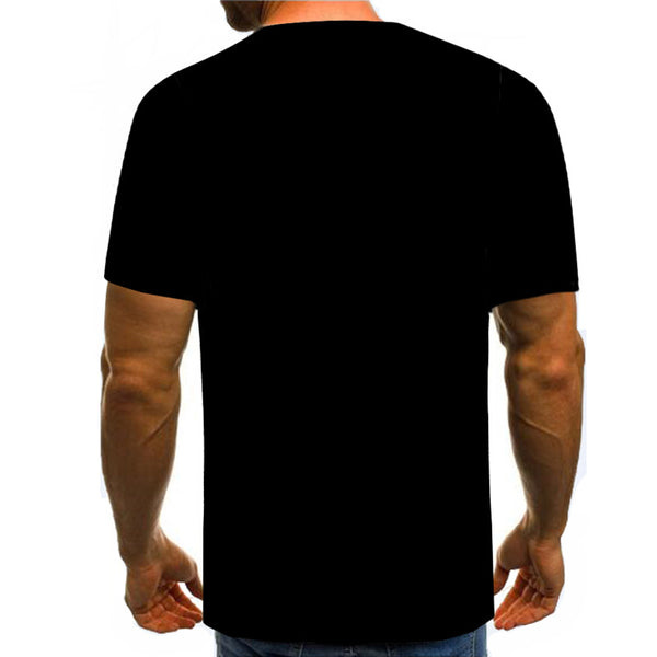 Men's Fake two-piece Plus Size  Digital Cotton T-shirt - 3D Tie Print Round Neck