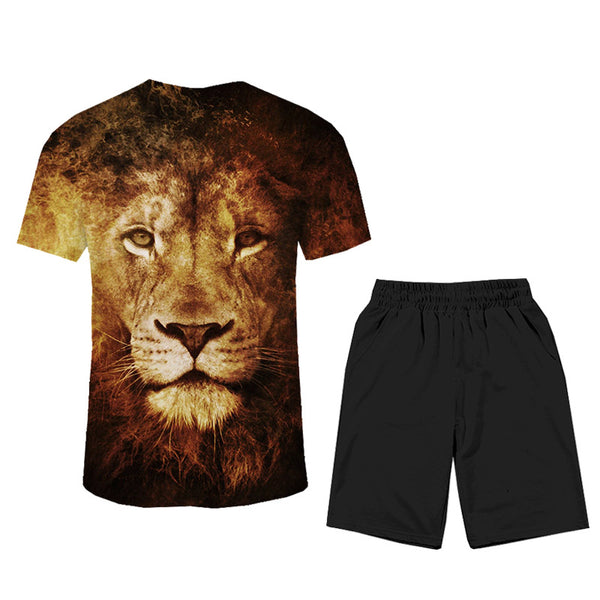 Men's Polyester T-shirt&Shorts - 3D Animals Print Suit Round Neck