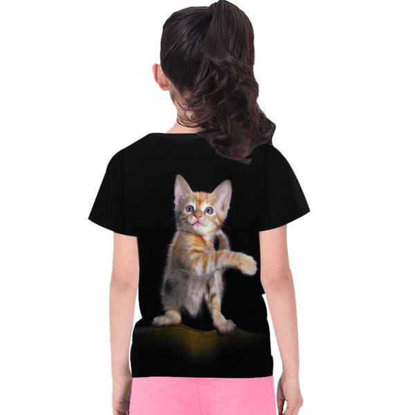 3D Digital Printing Kids' Clothing Short-sleeved T-shirt Round Neck For Girls And Boy Shirt Yellow Cat - Chiclulu
