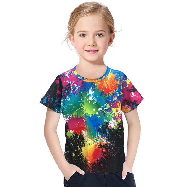 3D Digital Printing Kids' Clothing Short-sleeved T-shirt Round Neck For Girls And Boy Shirt Graffiti - Chiclulu
