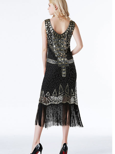 Women's Sequin Tassel Evening Dresses LF29