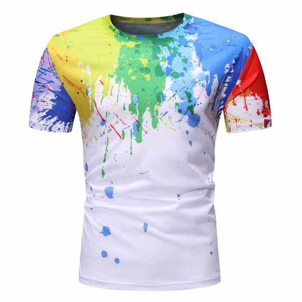Men's T-shirt&Shorts - 3D Print Beach Splashing ink Suit Round Neck