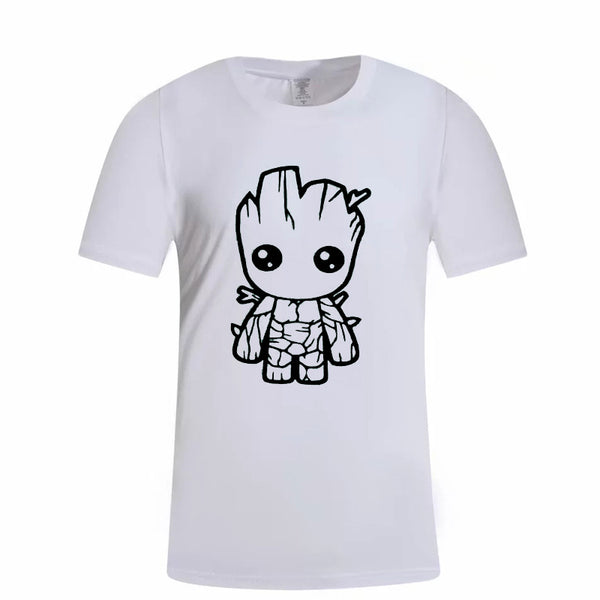 Men's T-shirt White Carton Print Fashion Round Neck Short Sleeve T-Shirt kl215