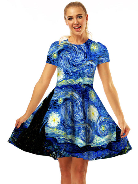 Women's 3D Bubble Mini Dress Digital Printing Fashion Short-sleeved Pullover Dress Painted