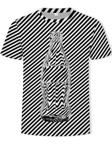 Men's T-shirt - Bottle/ 3D / Stripe Print Round Neck Quick Dry Breathable