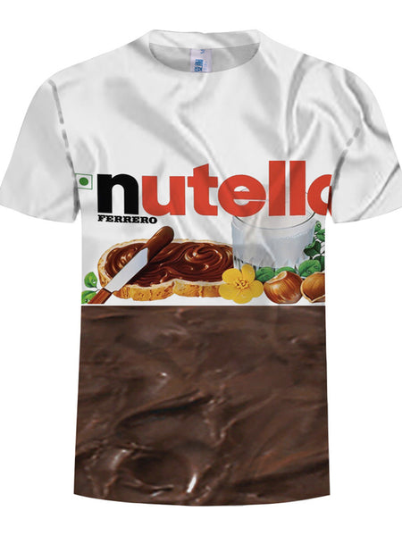 Plus Size 3D Food Printing Round NeckLoose Men's T-shirt Short Sleeve