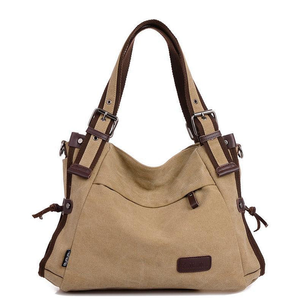 Canvas Solid Shoulder Bags - Chiclulu
