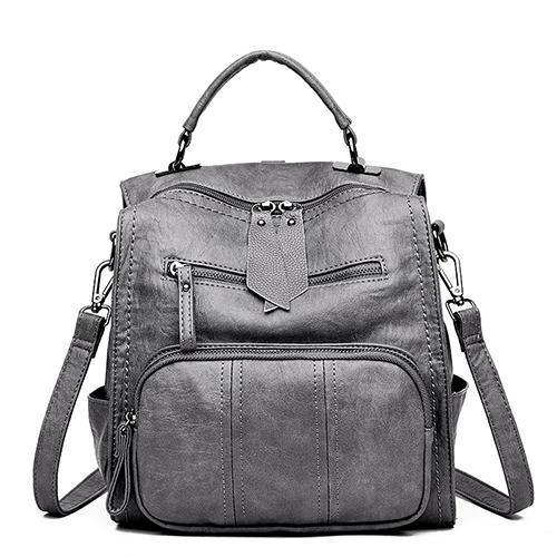 Multi-function Double Zipper Women Backpack