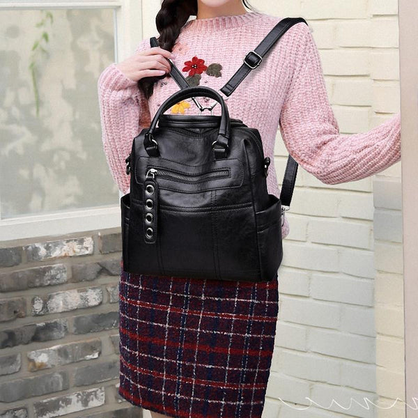 Multi-functional Fashion PU Leather Women Backpack