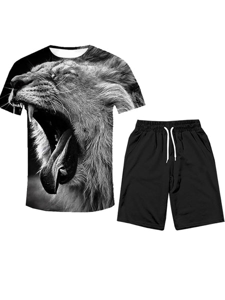 Men's Polyester T-shirt&Shorts - 3D Gray Tiger Print Suit Round Neck