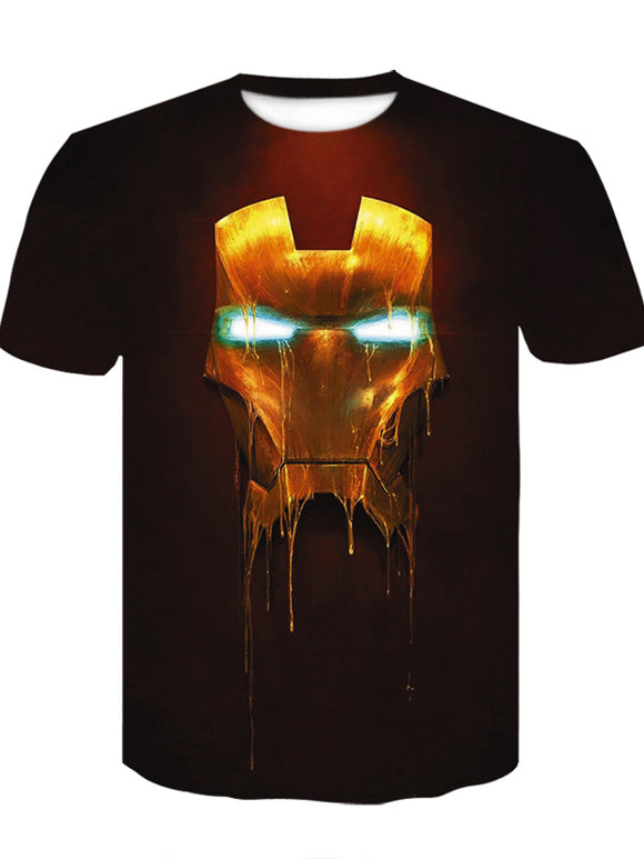 3D Cool Printing Green Light Round NeckLoose Men's T-shirt Short Sleeve - Chiclulu