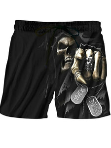 Men's Shorts 3D Beach Digital Print Skull Five Fingers Shorts