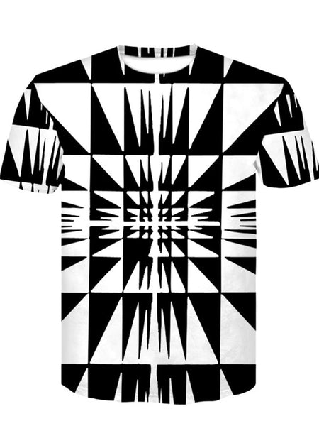 Men's Hip Hop Digital T-shirt - Striped / Color Block / 3D Print