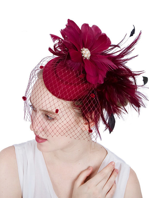 Feather/Net Kentucky Derby Hat/Flower 1pc Wedding/Party Headpiece SYF154