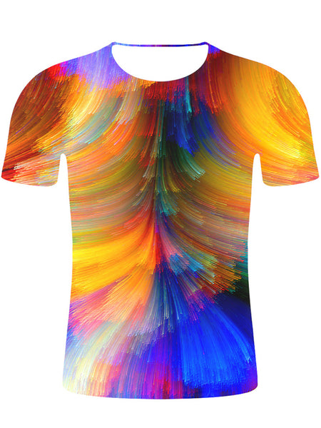 Men's Cotton T-shirt - Geometric / Color Block / 3D Print Round Neck Hand Painted