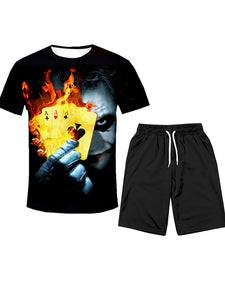 Men's Polyester T-shirt&Shorts - 3D Clown Print Suit Round Neck