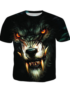 Men's Basic Polyester T-shirt - 3D Animal Print Round Neck