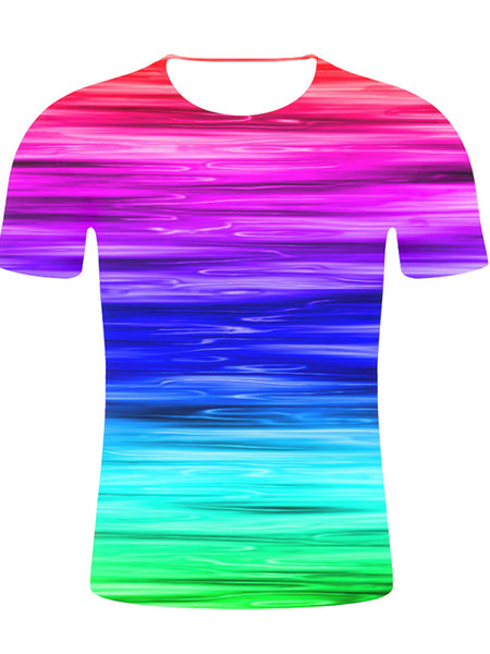 Men's Cotton T-shirt - Geometric / Color Block / 3D Print Round Neck Rainbow