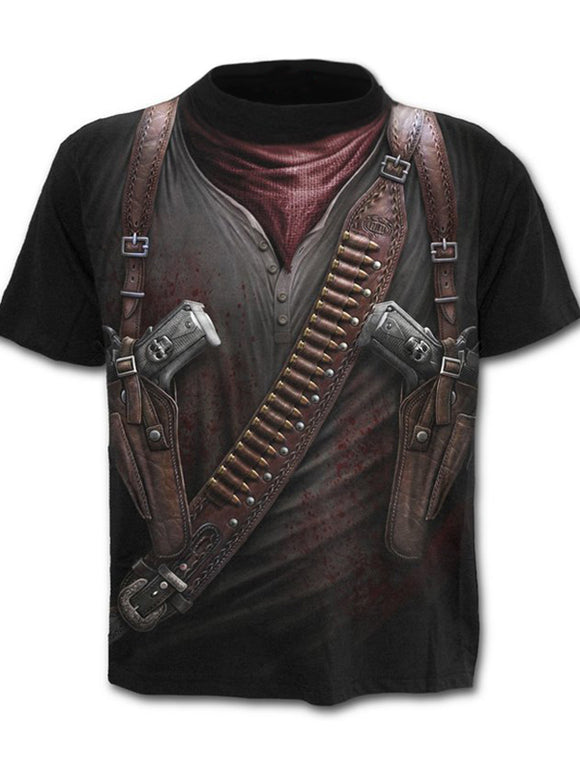 Men's Cool Fake two-piece Digital T-shirt - 3D Print Round Neck