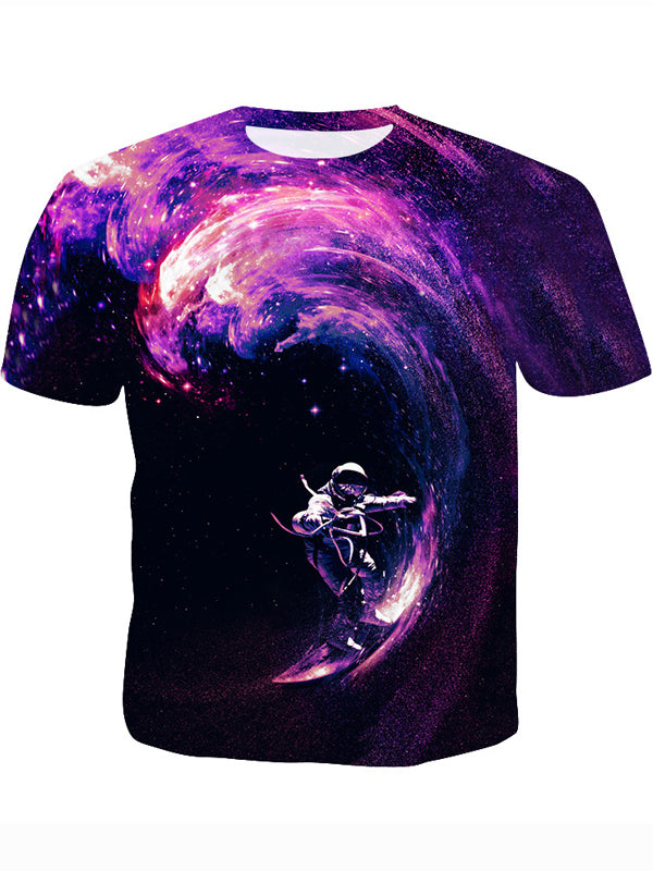 Men's 3D Outer Space Print Short Sleeve Summer Short Sleeve T-Shirt