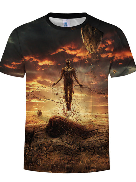Men's Plus Size Cool Funny Polyester T-shirt - 3D Character&View Print Round Neck