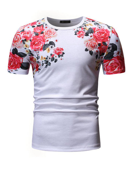 Men's Cotton Round Neck Short Sleeve Floral Printed T-Shirt T602