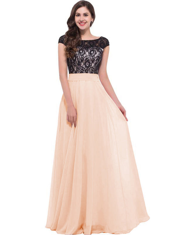 Women's Lace Short Sleeve Prom Dresses 111#