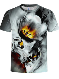 Men's Basic Plus Size Cool Funny Cotton T-shirt - 3D Gray Skull Print Round Neck