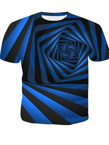Men's T-shirt - Striped / Color 3D Print