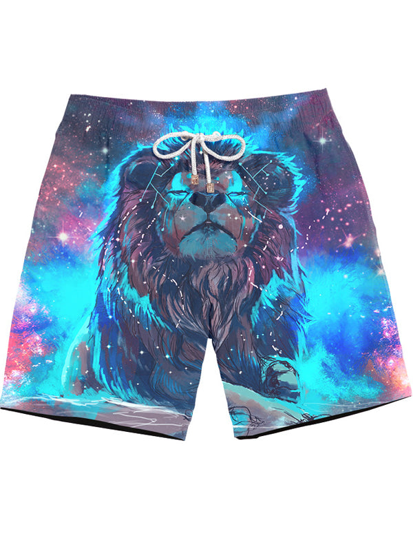 Men's Beach Pants Loose 3D Spoof Print Shorts Casual DW17