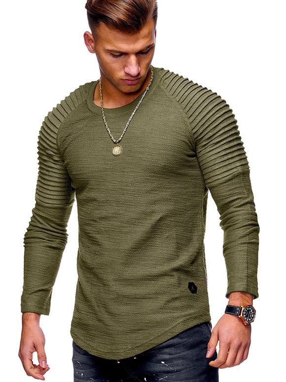 Men's Slim Solid Colored Long Sleeve Round Neck T-Shirt 1114-MG1025