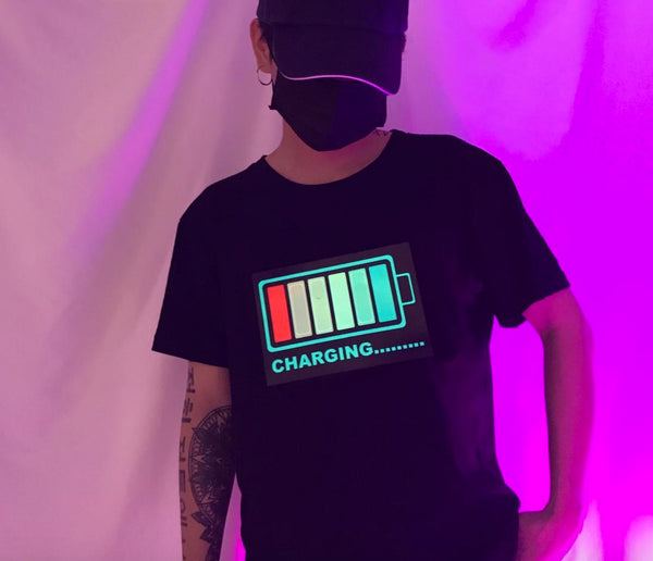 Men's LED T-shirts Flashing for Rock Disco Party DJ Battery