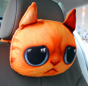 3D Car Headrest/Neck Pillow/Seat Pillow Yellow Cat