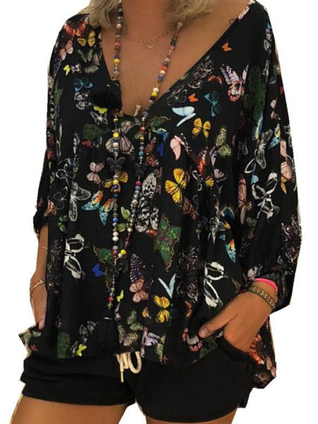Plus Size Bow-printed V-neck Loose Blouses