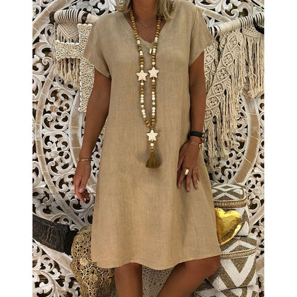 V-Neck Shift Women Short Sleeve Casual Solid Summer Dress