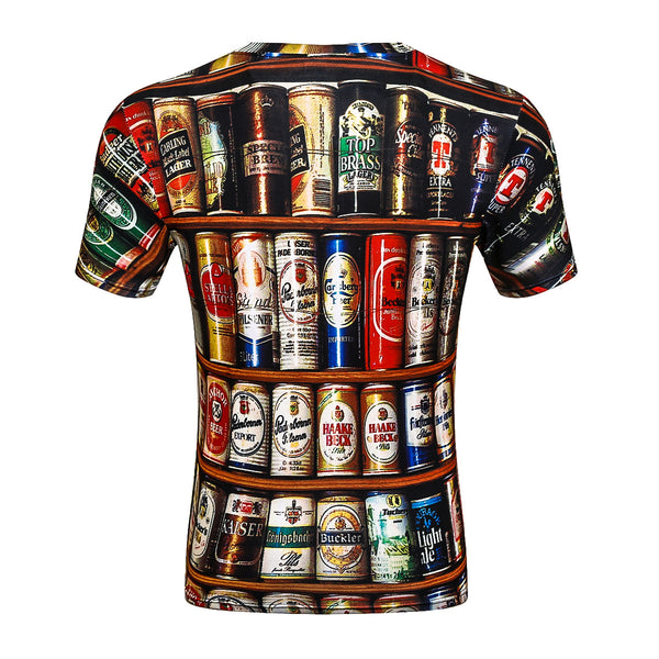 Men's 3D T-shirt - Geometric Print Round Neck  Short Sleeve