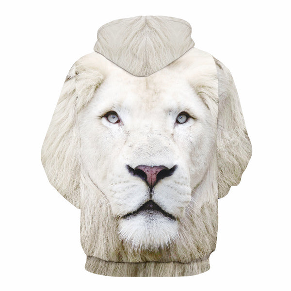 Men's and Women's  Plus Size Long Sleeve Loose Hoodies - 3D Print White Lion