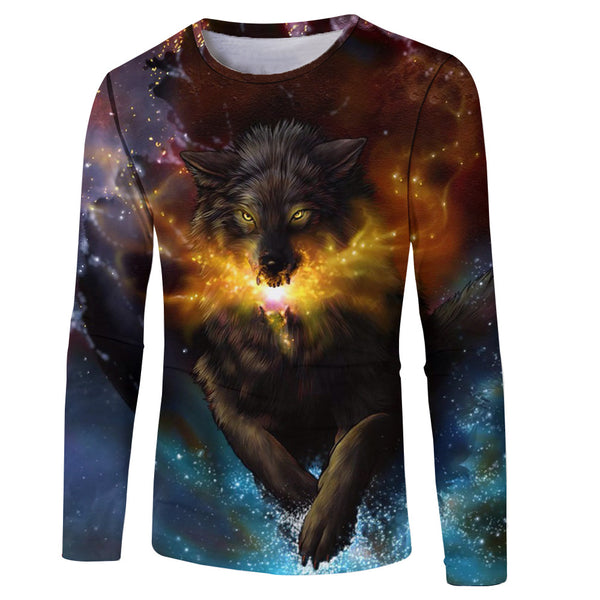 Men's 3D Wolf Printed Round Neck Long Sleeve T-Shirt 7917