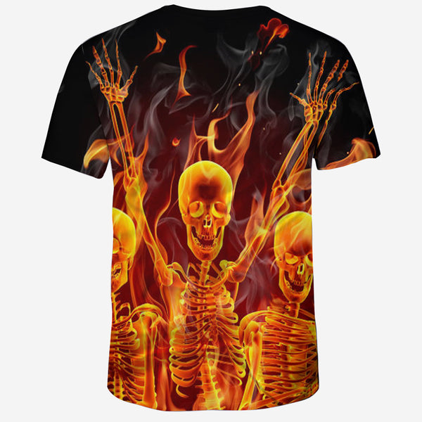 Men's Basic Plus Size Cool Funny Polyester T-shirt - 3D Print Skull Round Neck