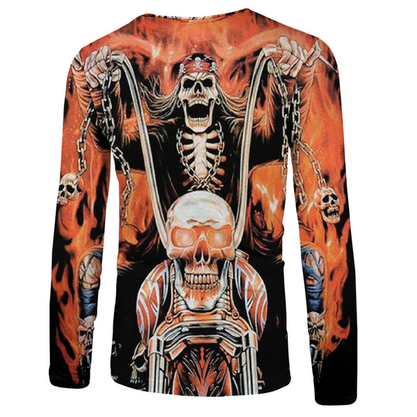 Men's 3D Skull Printed Round Neck Long Sleeve T-Shirt 0229
