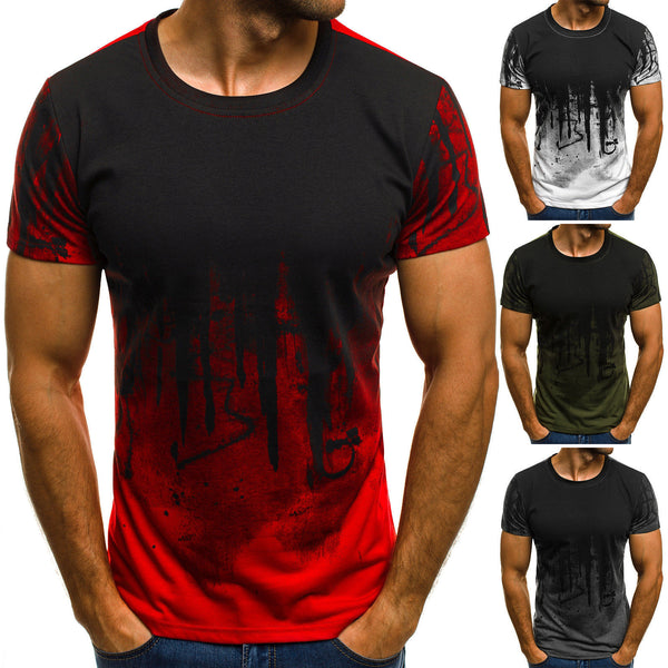 Men's Cotton Blend Round Neck Slim Short Sleeve Graphic Printed T-Shirt A1044T009