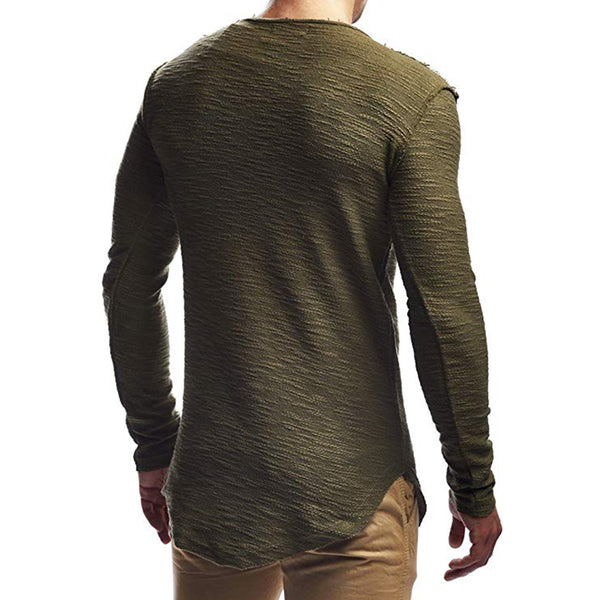 Men's Solid Color Round Neck Long Sleeve Slim T-Shirt 150300T123